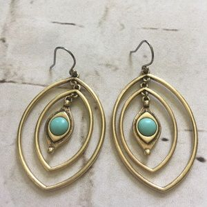 Lucky Brand Turquoise & Gold Earrings